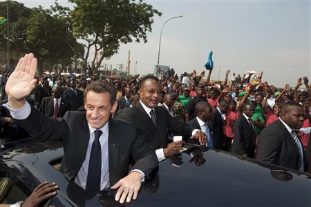 Sarkozy et Sassou Nguesso hier à Brazzaville
